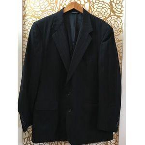 Burberry Pinstripe Black Wool Vintage Blazer Suit